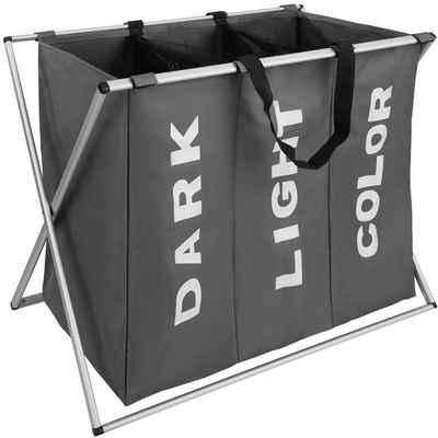 tectake Wäschekorb »Wäschesammler klappbar mit 3 Fächern«