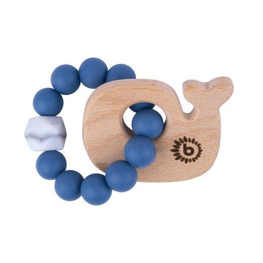 BIECO Beißring »Bieco Beißring Baby mit Silikon Perlen Blau, 13 cm ab 0 Monate Zahnungshilfe Baby Baby Greifling mit Holz Wal Beissring Für Baby Zum Zahnen Motorikspielzeug Baby Beißring Silikon Baby«