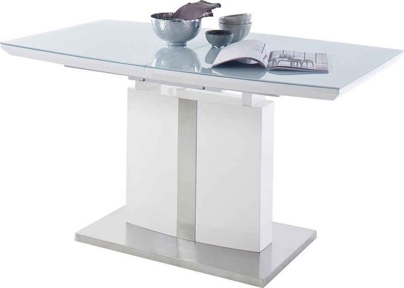 MCA furniture Esstisch »Najuma«, Bootsform weiß mit Synchronauszug, Sicherheitsglas