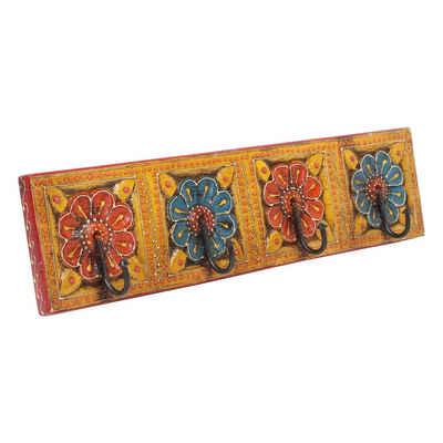 Casa Moro Garderobenleiste »Orientalische Kleiderhaken Antara D handbemalte Hakenleiste mit 4 Haken 46x6x11,5 cm BxTxH aus Massiv Holz, Wandgarderobe in schönen Blumenmustern, MA13-04-D«, aus massivem Holz