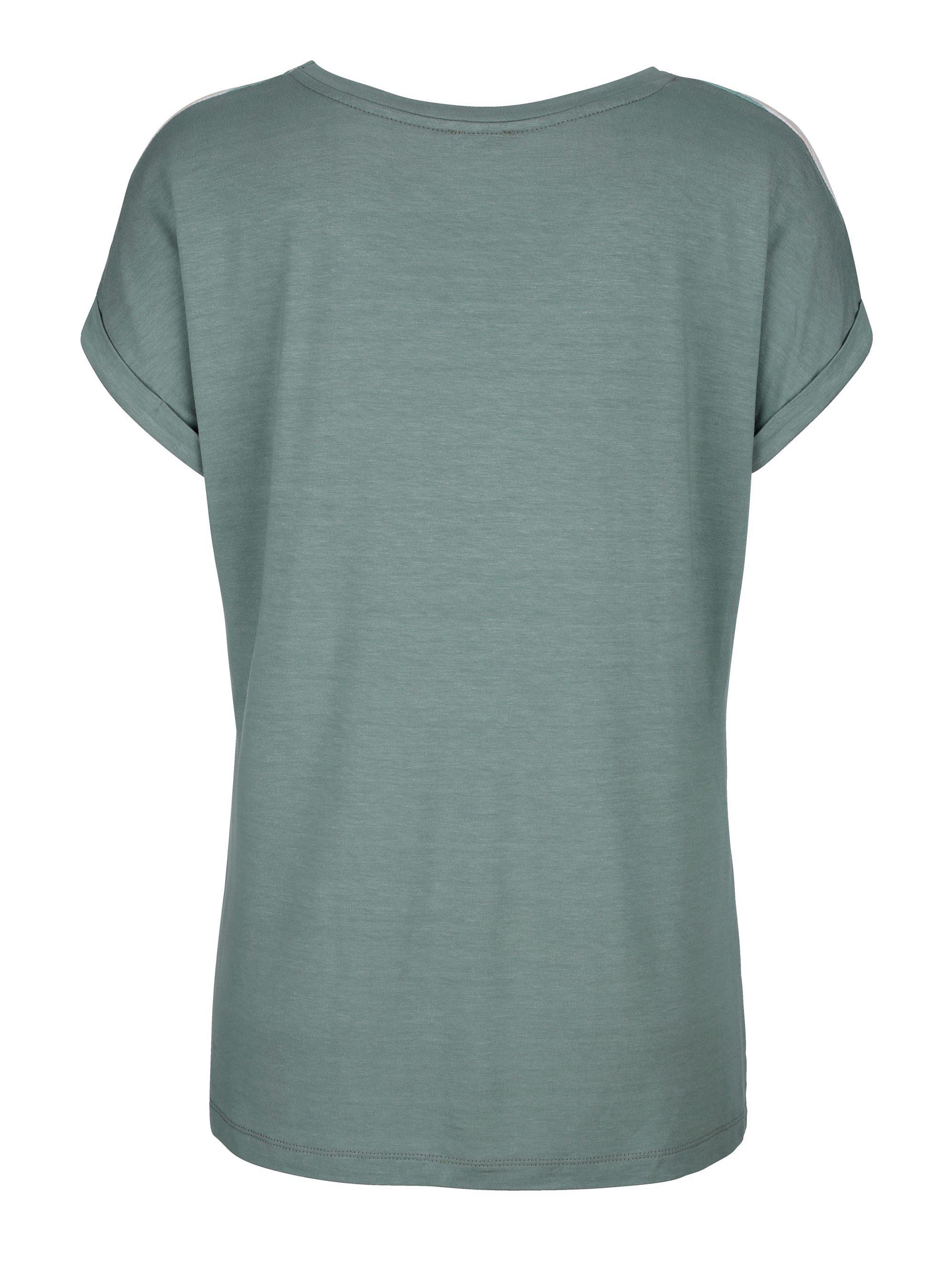 Alba Moda Shirt im Material-Mix, Shirt mit Webvorderteil im farbharmonischem Steifen-Dessin