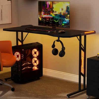 Merax Gamingtisch, Gaming Schreibtisch mit LED-Beleuchtung inkl. Kopfhörerhalter PC Schreibtisch Gamer