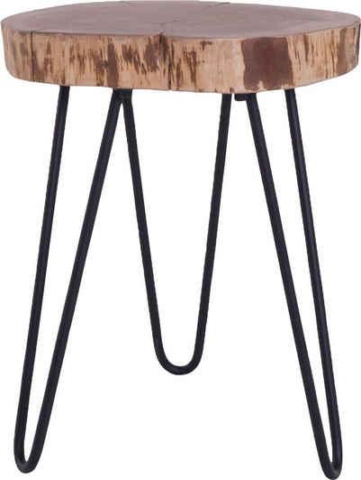 byLIVING Beistelltisch »Nasti«, aus Massivholz, mit Baumkante