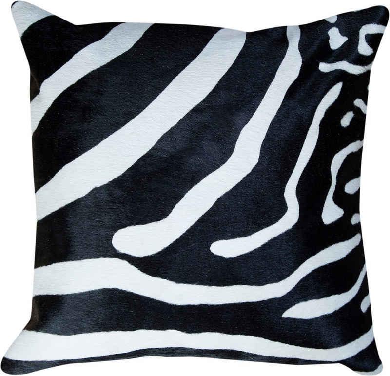 Trendline Fellkissen »Dekokissen Big Zebra«, wohnliches Deko Zierkissen, eckig, 45x45 cm, handgefertigt, echtes Rinderfell, Zebra-Optik, Naturprodukt - daher ist jedes Kissen ein Einzelstück, Wohnzimmer