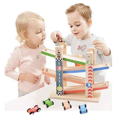Wenta Kugelbahn »Autorennbahn Holz Kinder mit 4 Mini-Autos Parkplatz Spielzeugauto Set Autostrecke Pädagogische Rennwagenbahn Bunt für Mädchen Jungen ab 1 2 3 4 jahre«
