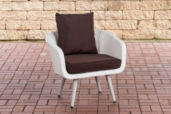 CLP Gartensessel »Ameland Flachrattan Sitzhöhe 45 cm«, Polyrattanstuhl, Füße in Holzoptik