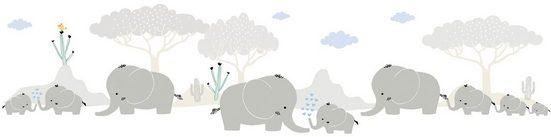 A.S. Création Bordüre »Elephant Family«, glatt, für Baby- und Kinderzimmer, selbstklebend, PVC-frei