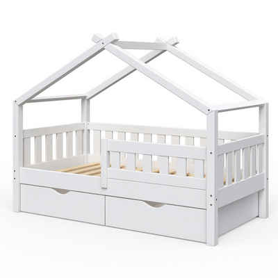 VitaliSpa® Kinderbett »Design 160x80 Babybett Jugendbett 2 Schubladen Lattenrost«