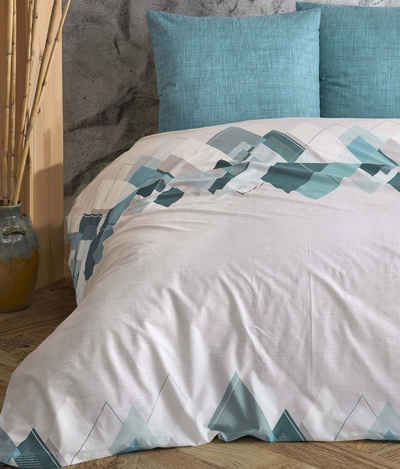 Bettwäsche, Leonado Vicenti, mit geometrischem Muster und melierter Wendeseite