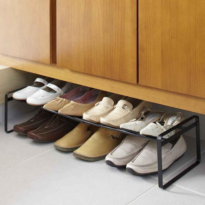 Yamazaki Schuhregal »Frame«, Schuhablage, ausziehbar von 40 bis 70cm, erweiterbar, schwarz Metall
