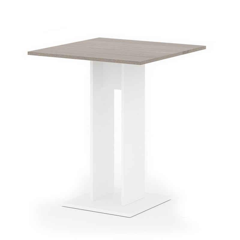 Vicco Säulen-Esstisch »Esstisch EWERT Küchentisch Esszimmer Säulentisch weiß Sonoma Eiche 65x65«