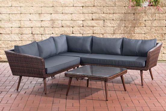 CLP Gartenmöbelset »Eck-Loungeset Skara Flachrattan braun-meliert«, Eckgarnitur & Glastisch 1,25mm Rattandicke 5 Sitzplätze