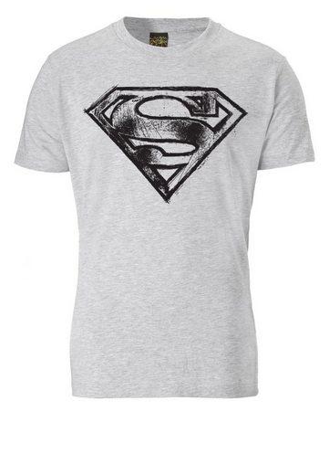 LOGOSHIRT T-Shirt mit coolem Frontprint »SUPERMAN - LOGO SCRIBBLE«