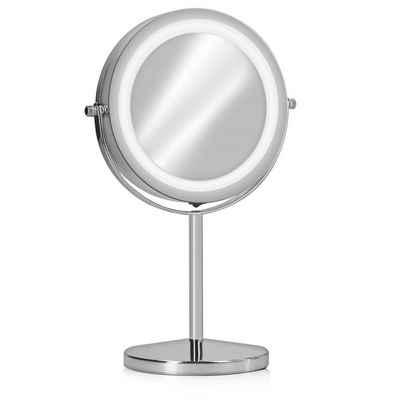 Navaris LED-Lichtspiegel, Kosmetikspiegel mit Beleuchtung - Spiegel mit normaler und 7-facher Vergrößerung - Schminkspiegel beleuchtet 360° drehbar