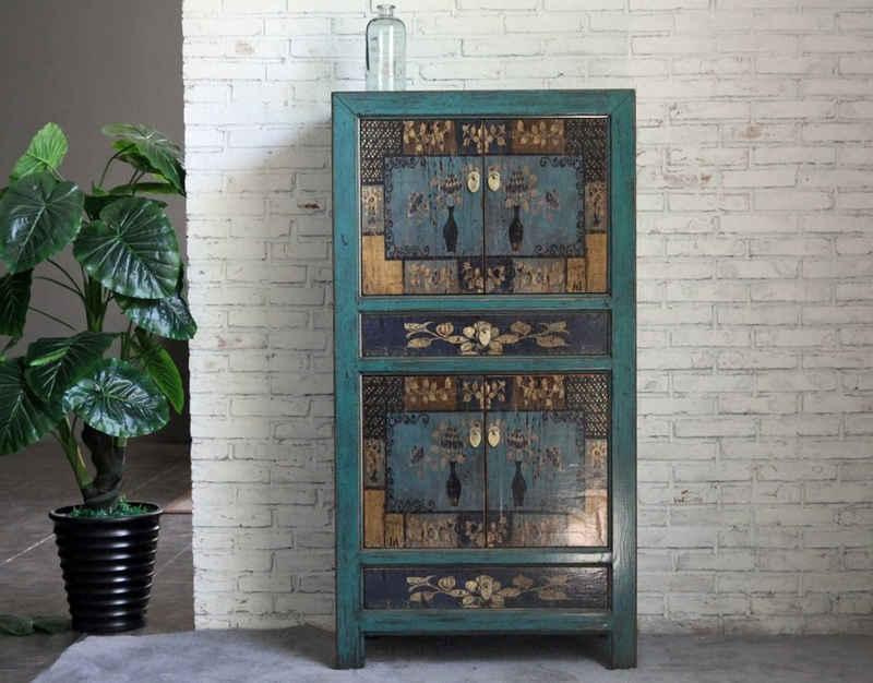 OPIUM OUTLET Kleiderschrank »Vintage Schrank blau Kommode shabby-chic Hochzeitsschrank Landhaus-Stil Hochschrank Schlafzimmer Wohnzimmer« Breite 80 cm; Höhe 154 cm; Tiefe 42 cm