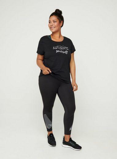 Active by ZIZZI T-Shirt Große Größen Print Rundhals Baumwolle