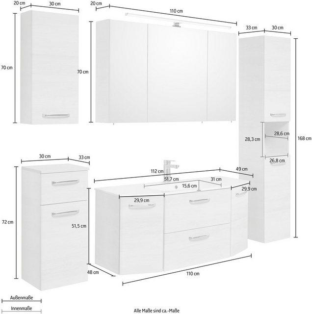 Badezimmer Sets - PELIPAL Badmöbel Set »Amora«, (Set, 5 St), Spiegelschrank inkl. LED Beleuchtung, Waschtisch Kombination mit Keramikbecken, Metallgriffe, Türdämpfer  - Onlineshop OTTO