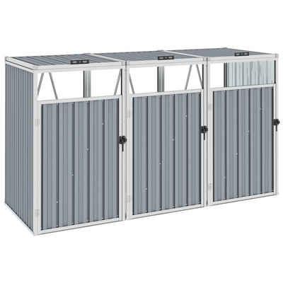 vidaXL Mülltonnenbox »vidaXL Mülltonnenbox für 3 Mülltonnen Grau 213×81×121 cm Stahl«