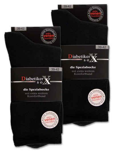 sockenkauf24 Diabetikersocken »6 Paar Socken mit Komfortbund ohne Gummi & ohne Naht« 97% Baumwolle Damen & Herren 26801 (Schwarz 43-46)