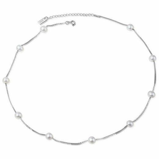 AILORIA Silberkette »MASAKO« (1-tlg), Elegante Halskette aus 925 Sterling Silber mit 10 Süßwasserperlen