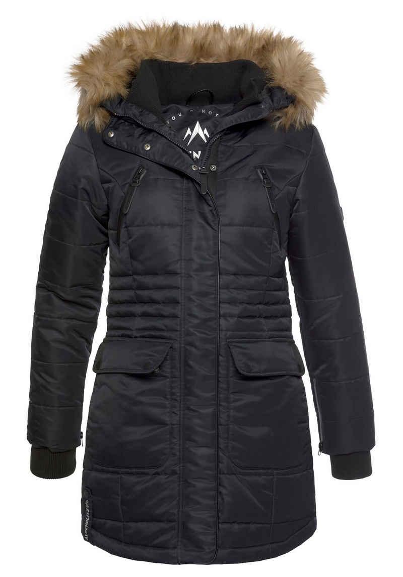 ALPENBLITZ Steppjacke »Schneeglanz« edle Winterjacke mit Rippenstehkragen und abnehmbaren Kunstfell an der Kapuze