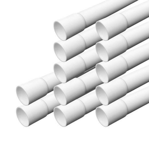 ARLI Kabelkanal »Elektrorohr Kabelrohr M25 Stangenrohr Leerrohr PVC gemufft Installationsrohr 25 mm Rohr 1m Kanal Set - 1253« (12 meter / 12 Kabelrohre, 12-St), Einseitig gemufft