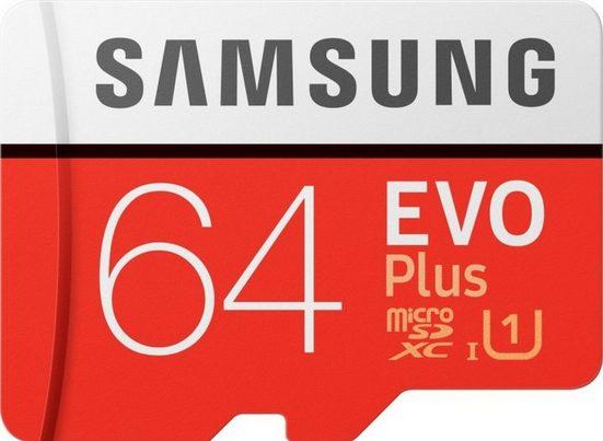 Samsung »EVO Plus microSD« Speicherkarte (64 GB, 100 MB/s Lesegeschwindigkeit, Größte Kapazität, Speicherkarte + Adapter)