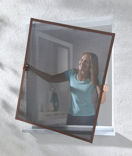 hecht international Insektenschutz-Fenster »MASTER SLIM POLLE«, braun/anthrazit, BxH: 100x120 cm