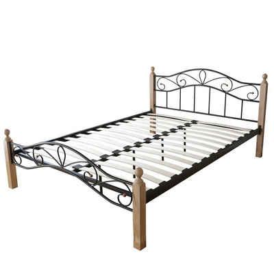 Homestyle4u Metallbett, Doppelbett mit Lattenrost und Kopfteil, verschiedene Farben und Größen