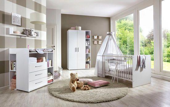 BMG Babyzimmer-Komplettset »Luis«, (Set, 6-St), Bett + Wickelkommode + 2-trg. Schrank + Unterstellregal (Set 2-tlg) + Wandboard