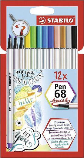 STABILO Dekorierstift »Filzstifte Pen 68 brush, 12 Farben«