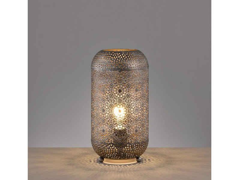FISCHER & HONSEL LED Tischleuchte, orientalische Design Lampe für Fensterbank Galerie & ausgefallene Wintergarten Beleuchtung, Vintage Lampenschirm Silber Antik, marokkanische Nachttischlampen