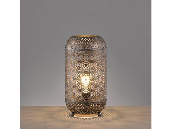 FISCHER & HONSEL LED Tischleuchte, orientalische Design Lampe für Fensterbank Galerie & ausgefallene Wintergarten Beleuchtung, Vintage Lampenschirm Silber Antik, marokkanische Nachtischlampen