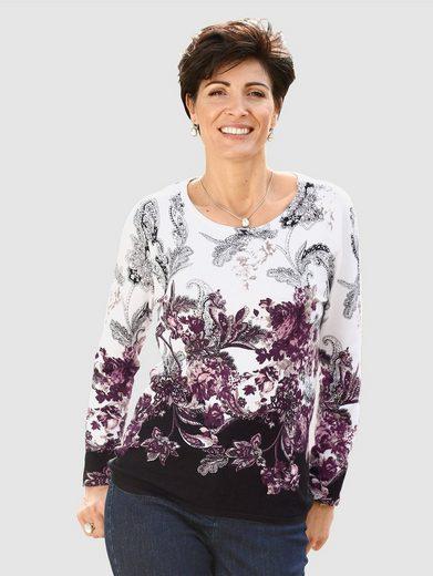 Paola Feinstrickpullover mit Blütendruck und Paisleyelementen