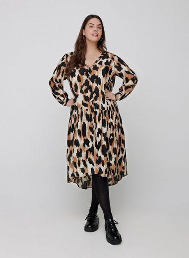 Zizzi Maxikleid Große Größen Damen Langarm Midi Kleid mit V Ausschnitt und Print
