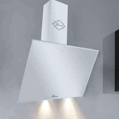 GURARI Kopffreihaube GCH 286 WH 6 Prime/1.7, Dunstabzugshaube 60cm,/ 1000m³/h/ Wandhaube/ Weiß / Weißglasfront/ TouchControl/ Fernbedienung,/ Effizient EEK A/ Timer
