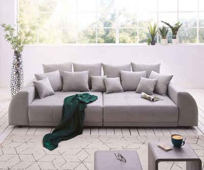DELIFE Big-Sofa »Violetta«, Grau 310x135 cm abgesteppt inklusive 12 Kissen Big-Sofa