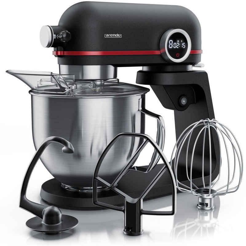 Arendo Küchenmaschine, 800 W, Rührmaschine Knetmaschine Standmixer 800 W - 5l Fassungsvermögen – Edelstahlschüssel - inkl. 3 Rührwerkzeuge - 8 Schaltstufen - planetarisches Rührsystem