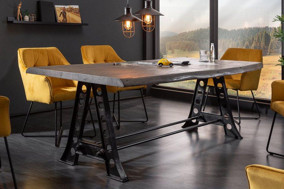 riess ambiente Esstisch »MAMMUT INDUSTRIAL 220cm grau«, mit Baumkante aus Massivholz online ...