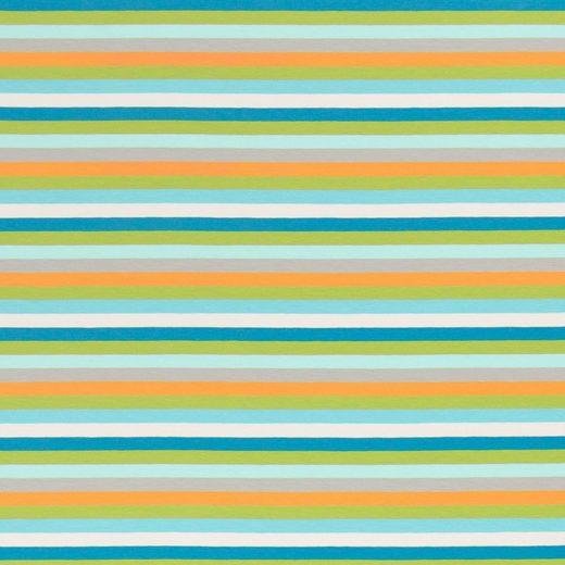 larissastoffe Stoff »Jersey Stoff Streifen, Swafing Gala bunt türkis«, Stoffe zum Nähen, Meterware, 50 cm x volle Breite