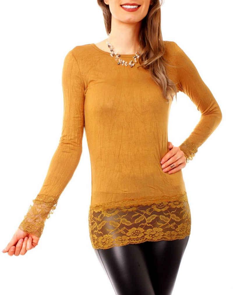 Muse Longshirt »Damen Langarmshirt mit Spitze RONJA Skinny extra« (1-tlg)