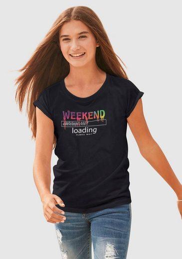 KIDSWORLD T-Shirt »WEEKEND loading...please wait« in weiter legerer Form
