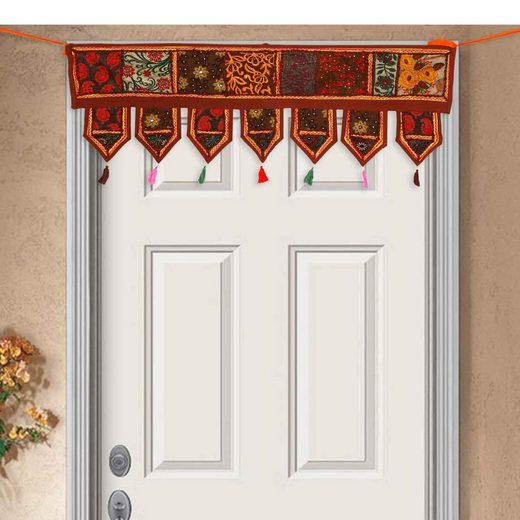 Türvorhang »Indischer Patchwork Toran 102x45 cm (BxH) handbestickter Türvorhang & Fenstervorhang in Boho-Stil«, Casa Moro, 3-Punkt-Aufhängung (1 Stück), MA6303