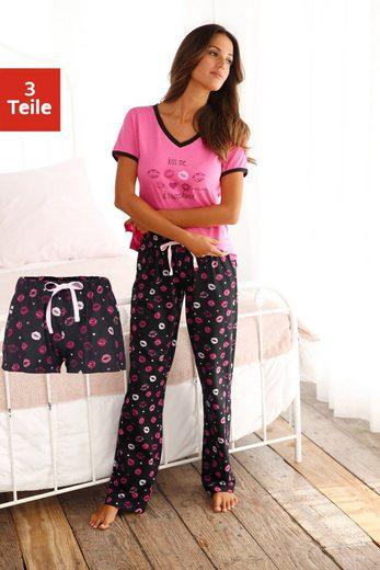 Vivance Dreams Pyjama (3 tlg) mit Kussmund Print