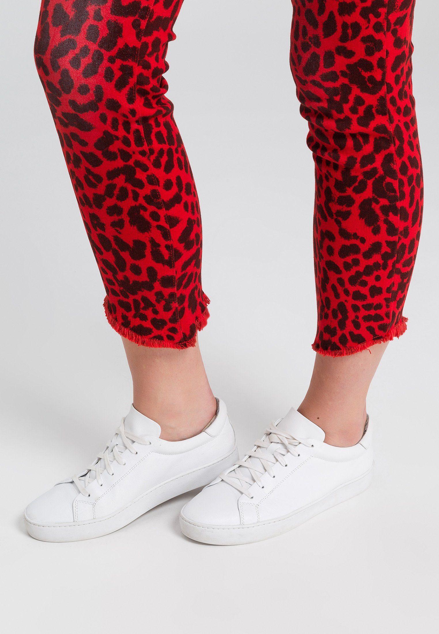 MARC AUREL 5-Pocket-Jeans mit Leopardendruck