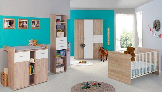 BMG Babyzimmer-Komplettset »Maxim«, (Set, 4-St), Bett + Wickelkommode + 4-trg. Schrank + Standregal