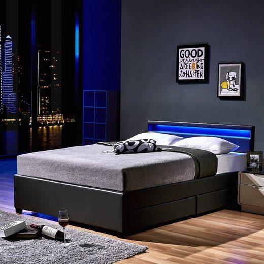 HOME DELUXE Bett »LED Bett Nube mit Schubladen« (Set, 2-St., bett mit Schubladen und Lattenrost), mit Bettkasten und Lattenrost, Variante mit oder ohne Matratze