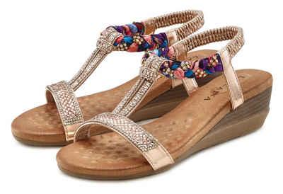 LASCANA Sandalette mit Gummizug und leichtem Keilabsatz
