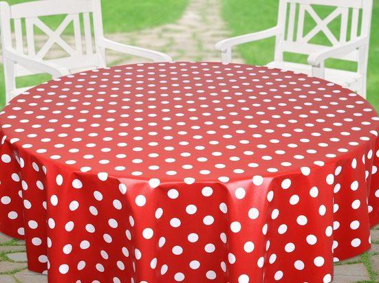 Beautex Tischdecke »Punkte Wachstuchtischdecke OVAL RUND ECKIG, Farbe u. Größe wählbar, Tischdecke Wachstuch abwischbar« (1-tlg)