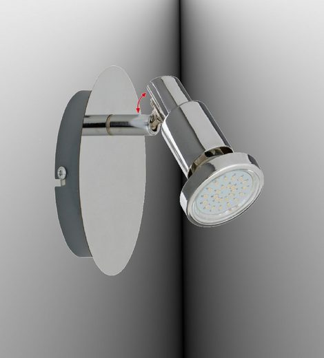 TRANGO LED Deckenspots, 1-flammig 2890-018-6W LED Wandleuchte *OSCAR* in Chrom-Optik inkl. 1x 5 Watt GU10 LED Leuchtmittel I Deckenlampe I Deckenstrahler I Deckenspots I Leselampe schwenkbar und drehbar
